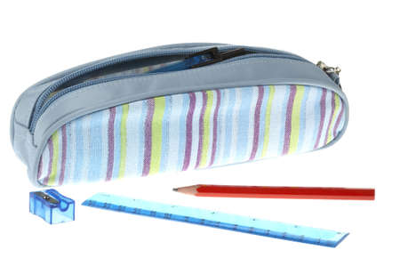 Pencil case on a white background Stock Photo
