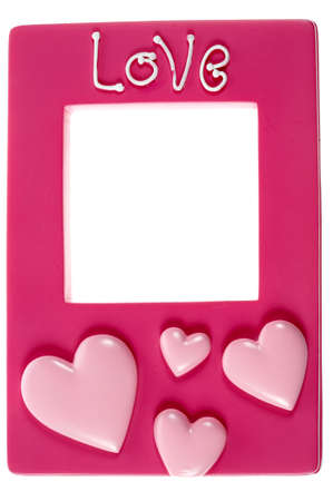 Pink photograph frame with the words love embossed on a white background