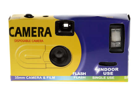 Front view of a cheap disposable camera on a white background photo