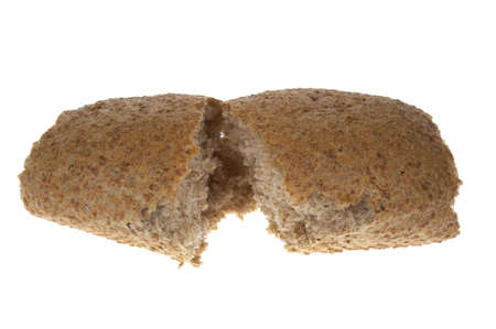 Detail showing inside a wholemeal bread roll photo