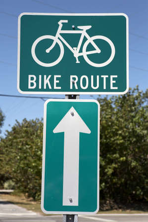 Bike route sign, tourism on the island encourages visitors to hire bikes and use special lanes sanibel Island, florida America, usa taken in march 2006 Stock Photo