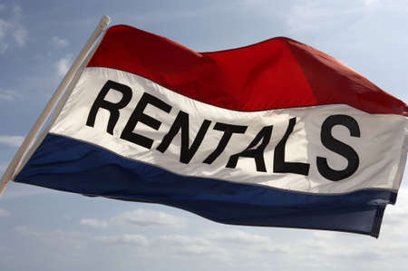 rentals: Rental flag flying in breeze on south beach fort Lauderdale, Miami, united states taken in march 2006 Stock Photo