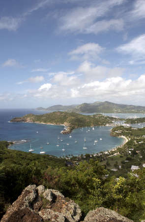 in the heights: view of falmouth bay and english harbour from shirley heights lookout, Antigua leeward islands caribbean lesser antillies west indies