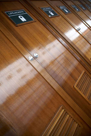 view of lifejacket lockers on a cruise ship Stock Photo - 715861
