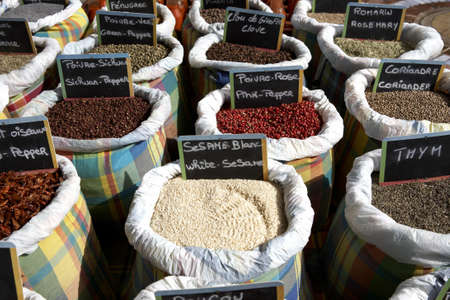 cooking spices for sale on a market stall Marigot St Martin leeward islands lesser antilles eastern caribbean west indies Stock Photo - 726778