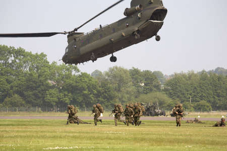 raf: chinook helicopter airlifting troops at raf cosford shifnal shropshire england uk