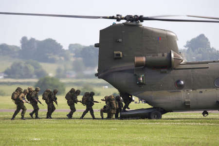 british army: chinook helicopter airlifting troops at raf cosford shifnal shropshire england uk