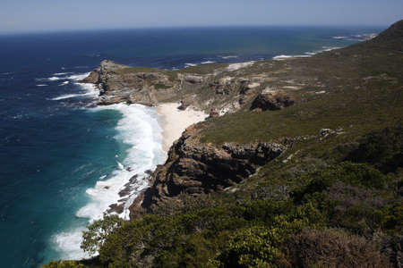 cape of good hope: the dramatic coastline viewed from cape point towards the cape of good hope part of the table mountain national park cape town western cape province south africa