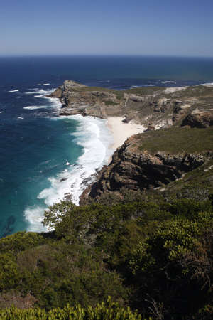the dramatic coastline viewed from cape point towards the cape of good hope part of the table mountain national park cape town western cape province south africa Stock Photo - 2807940