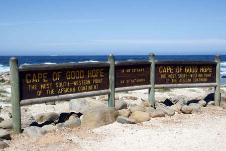 cape of good hope signpost indicating africas most south western point part of the table mountain national park cape town western cape province south Africa Stock Photo