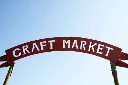 craft market sign against a blue sky near stellenbosch the winelands western cape province south africa