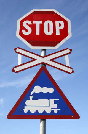 railway crossing stop sign at knysna train station knysna garden route western cape province south africa Stock Photo - 2837311