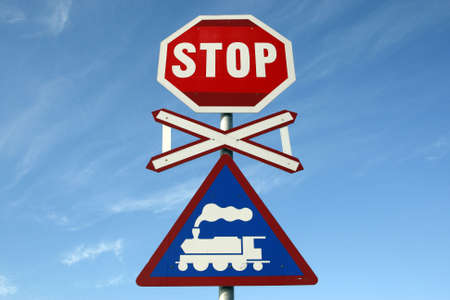 railway crossing stop sign at knysna train station knysna garden route western cape province south africa Stock Photo - 2837312