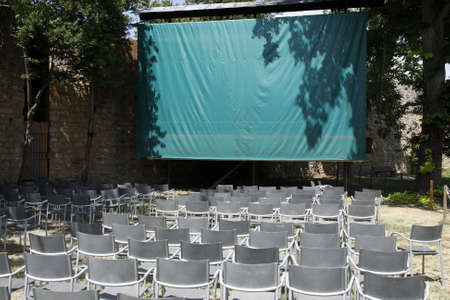 belle: empty open air cinema within the rocca san gimignano delle belle torri tuscany southern italy europe Stock Photo