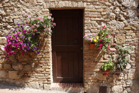 decorative home doorway san gimignano delle belle torri tuscany southern italy europe
