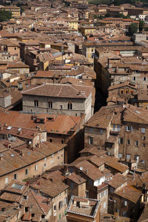 view over siena from the tower of palazzo pubblico torre del mangia siena tuscany southern italy europe Stock Photo