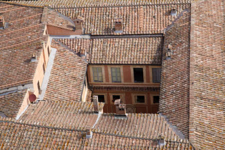 roof top of the rocca salimbeni from the the tower of palazzo pubblico torre del mangia siena tuscany southern italy europe Stock Photo