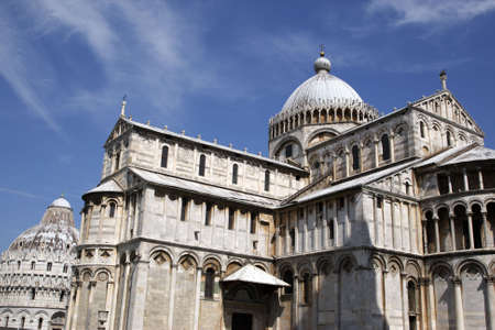 exterior of the duomo with the baptistry behind campo dei miracoli pisa italy tuscany europe