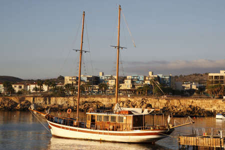 traditional greek schooner used for pleasure trips fig tree bay protaras cyprus mediterranean
