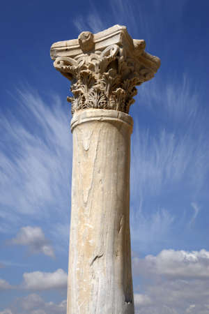 detail of a roman column at kourion cyprus mediterranean Stock Photo