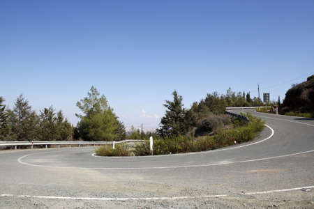 empty mountain road on the F106 toward stavrovouni cyprus