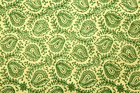 detail of green paisley pattern