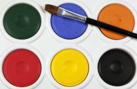 close up of a childrens watercolour paint palette
