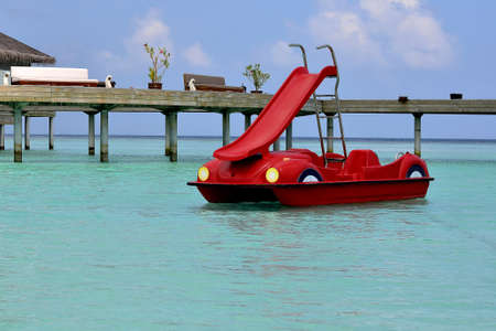 pedal: Red Pedal Sliding Boat in Maldives Stock Photo