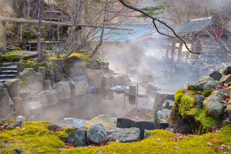 Outdoor hot spring, Onsen in japan in Autumn