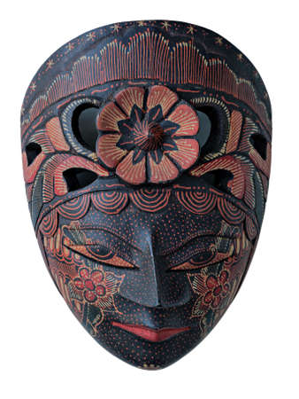 batik: Batik Wooden mask souvenir isolated on white backgroud