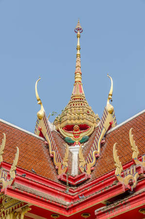 apex: Roof style of thai temple with gable apex on the top and birs Stock Photo