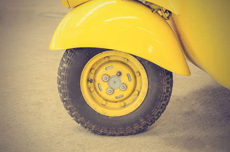 hubcap: Vintage Yellow Car Wheel; Classic Vehicles Filtered image processed vintage effect