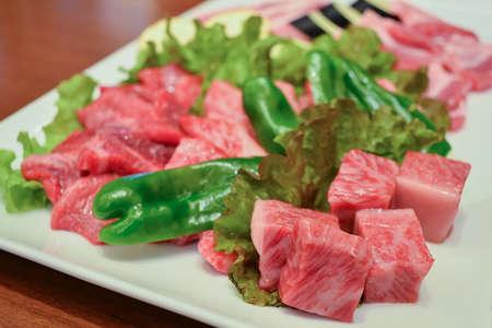 yakiniku: Wagyu premium japanese beef ready for grill, yakiniku japanese food
