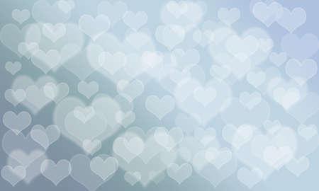 pallete: Heart pattern bokeh background; sky blue pallete color Stock Photo