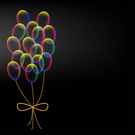 vibrant: Vibrant colorful balloons with bow on black background
