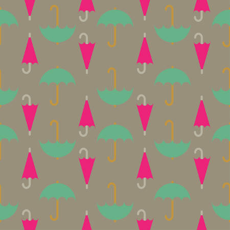 beach closed: Retro seamless pattern of umbrella; editable color background.