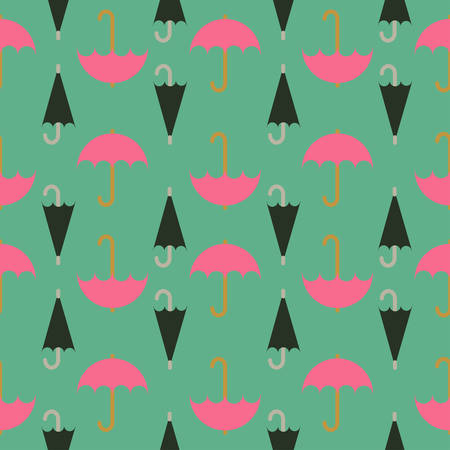 convolute: Retro seamless pattern of umbrella; editable color background.