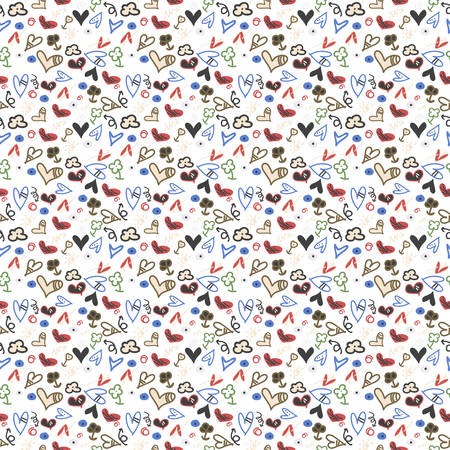 Seamless pattern heart doodles, Hand-Drawn Vector Illustration Background