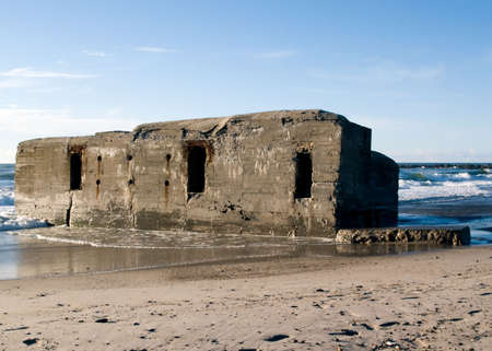 remains: World War II bunker on the beach Stock Photo