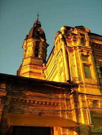 old building envelop of sunset