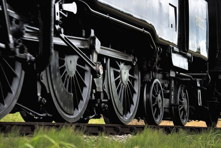footplate: Moving steam train wheels