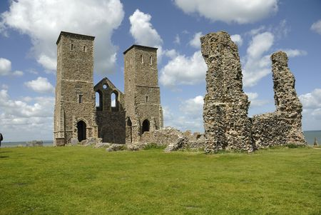 remains: The remains of Reculver Abbey in Kent, UK Stock Photo