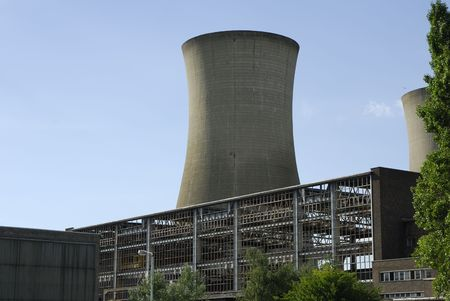 cooling tower: Power stations cooling tower in Pegwell Bay, Kent, UK, viewed from close up. Stock Photo