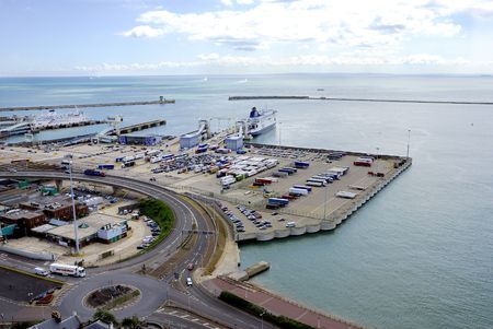 View of Dover ferry terminal in the south of England with France in the background photo