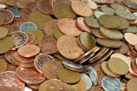 coppers: Closeup view of low value UK coins in a pile