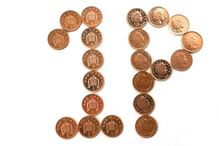 coppers: One Penny coins set against a white background