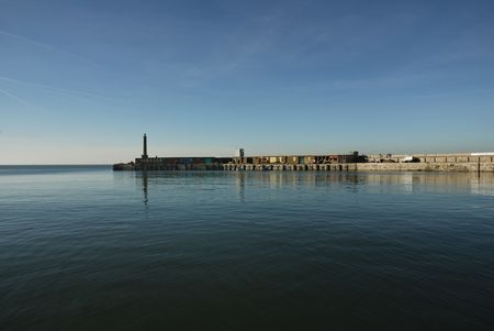 View across a calm sea of Margate harbor in Kent, UK. Stock Photo - 2539129