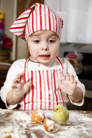 little chef in the kitchen ,wearing an apron and headscarf,surprise looking at hatched chick Stock Photo - 12974888