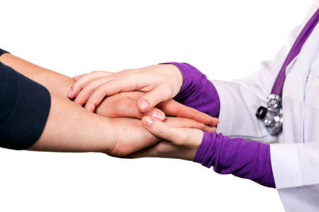 Holding patient`s hand, giving help