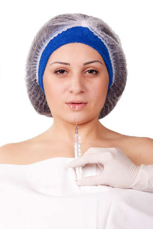 young girl getting Botox injection procedure photo